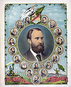 The Cause of Ireland: Portrait of Charles Stewart Parnell (1846-1891) Irish nationalist, political leader and champion of Home Rule,  surrounded by 18 vignettes of  others prominent in Irish government and politics. Coloured lithograph, 1881.