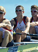 Varese,  ITALY. 2012 FISA European Championships, Lake Varese Regatta Course. ..GBR LM4-, William FLETCHER,  at the start of their heat of the Men's lightweight Four...{TIME  {DOW}  14/09/2012.....[Mandatory Credit Peter Spurrier:  Intersport Images]  ..2012 European Rowing Championships ..Rowing, European,  2012 010736.jpg....