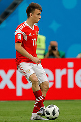 June 19, 2018 - Saint Petersburg, Russia - Aleksandr Golovin of Russia national team during the 2018 FIFA World Cup Russia group A match between Russia and Egypt on June 19, 2018 at Saint Petersburg Stadium in Saint Petersburg, Russia. (Credit Image: © Mike Kireev/NurPhoto via ZUMA Press)