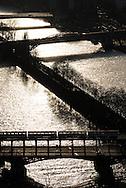 France. paris. 7th district.  , Paris cityscape and the Seine river bridges . Bir Hakeim subway bridge. / Paris vue d'en haut la Seine dans le 16em ardt