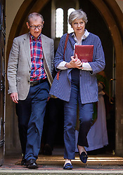 © Licensed to London News Pictures. 23/07/2017. Maidenhead, UK. British prime minister THERESA MAY attends church with her husband PHILIP MAY in her constituency in Maidenhead, Berkshire, UK . Photo credit: Ben Cawthra/LNP