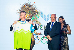 Thomas Bach, IOC president  and Bogdan Gabrovec, OKS president during official presentation of the Designer wear for Slovenian Athletes at Rio Summer Olympic Games 2016, on April 15, 2016 in Hotel Lev, Ljubljana, Slovenia. Photo by Vid Ponikvar / Sportida