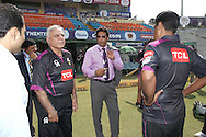 Commentator Wasim Akram chats to the Faisalabad Wolves players during the Qualifier 5 match of the Karbonn Smart Champions League T20 (CLT20) between Faisalabad Wolves and the Kandurata Maroons held at the Punjab Cricket Association Stadium, Mohali on the 20th September 2013<br /> <br /> Photo by Shaun Roy/CLT20/SPORTZPICS<br /> <br /> <br /> Use of this image is subject to the terms and conditions as outlined by the CLT20. These terms can be found by following this link:<br /> <br /> http://sportzpics.photoshelter.com/image/I0000NmDchxxGVv4<br /> <br /> ENTER YOUR EMAIL ADDRESS TO DOWNLOAD
