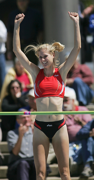 highjump  des moines  april 26 2006  Amy Acuff reacts to the cheers of the crowd as she clears a heighth in the Downtown Women's High Jump Invitational held at Nollen Plaza.  Acuff finished second in the event.  photo by david peterson s