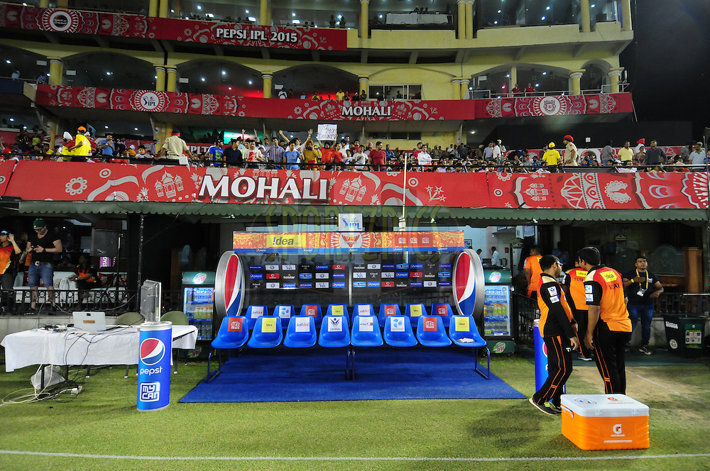 Sunrisers Hyderabad dugout during match 27 of the Pepsi IPL 2015 (Indian Premier League) between The Kings XI Punjab and The Sunrisers Hyderabad held at the Punjab Cricket Association Stadium in Mohali, India on the 27th April 2015.<br /> <br /> Photo by:  Arjun Panwar / SPORTZPICS / IPL