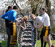 Barnes, Greater London, United Kingdom.  General views of crews relaxing, checking equipment and rigging, before the start of the 2014 Head of the River Race, Mortlake to Putney, Championship Course River Thames;  Saturday  - 29/03/2014  [Mandatory Credit; Intersport Images],