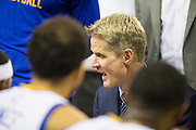 Golden State Warriors head coach Steve Kerr talks with his team during a timeout during a NBA preseason game against the Los Angeles Clippers at Oracle Arena in Oakland, Calif., on October 4, 2016. (Stan Olszewski/Special to S.F. Examiner)