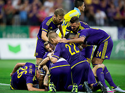 Players of NK Maribor celebrate after Marko Suler #4 of Maribor scored first goal for Maribor during First Leg football match between NK Maribor and FC Astana in Second qualifying round of UEFA Champions League, on July 14, 2015 in Stadium Ljudski vrt, Maribor, Slovenia. Photo by Vid Ponikvar / Sportida