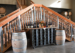 Display of estate-made wines in the tasting room of Ladyhill Winery, St. Paul, Oregon.