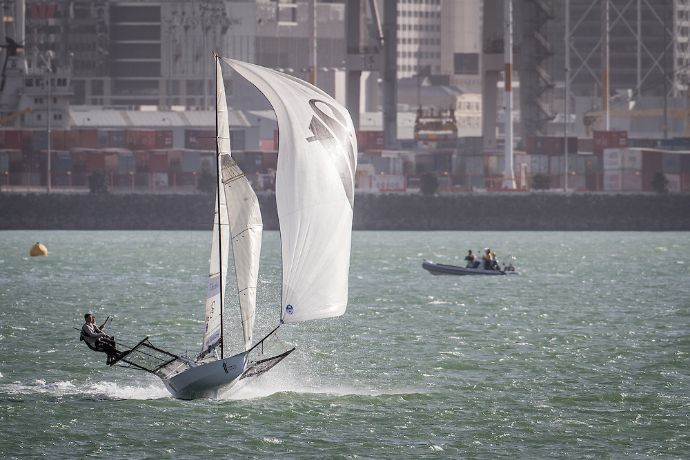 ANZAC 18-foot skiff regatta, Auckland. April 2013. Photo: Gareth Cooke/Subzero