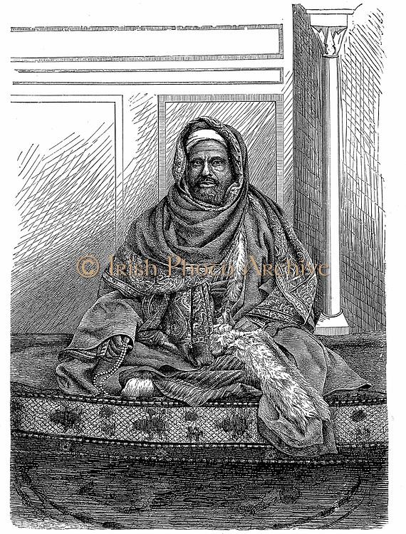 A Qadi (Cadi or Kadi), a Judge who makes decisions according to Islamic Shari'ah law: Khartoum, Sudan late 19th century. Engraving