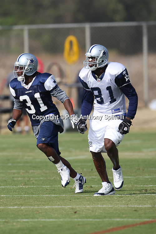 OXNARD, CA - AUGUST 01:  Rookie cornerback Mike Jenkins #31 of the Dallas Cowboys covers wide receiver Terrell Owens #81 of the Cowboys as he goes out for a pass during the 2008 Dallas Cowboys Training Camp at River Ridge Field on August 1, 2008 in Oxnard, California. ©Paul Anthony Spinelli *** Local Caption *** Mike Jenkins;Terrell Owens