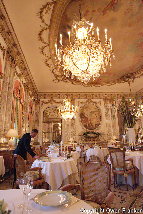 Final setting up of tables at the Restaurant Meurice in Paris....photo by Owen Franken......May 26, 2004