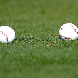 February 19, 2011; Fort Myers, FL, USA; A detailed view of baseballs on the grass during Boston Red Sox spring training at the Player Development Complex.  Mandatory Credit: Derick E. Hingle