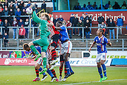 Carlisle United Goalkeeper Mark Gillespie attacks the ball during the Sky Bet League 2 match between Carlisle United and Exeter City at Brunton Park, Carlisle, England on 17 October 2015. Photo by Craig McAllister.