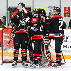 TRENTON, ON  - MAY 5,  2017: Canadian Junior Hockey League, Central Canadian Jr. &quot;A&quot; Championship. The Dudley Hewitt Cup Game 7 between Georgetown Raiders and the Powassan Voodoos.   Georgetown Raiders players celebrate post game.  <br /> (Photo by Alex D'Addese / OJHL Images)
