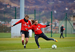 ZENICA, BOSNIA AND HERZEGOVINA - Monday, November 27, 2017: Wales' Kayleigh Green [R]and Gemma Evans [L] during a training session ahead of the FIFA Women's World Cup 2019 Qualifying Round Group 1 match against Bosnia and Herzegovina at the FF BH Football Training Centre. (Pic by David Rawcliffe/Propaganda)