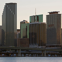 Miami skyline at dusk, Business district, Florida, USA