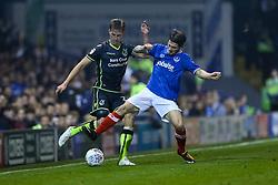 Joe Partington of Bristol Rovers tackles Matty Kennedy of Portsmouth - Mandatory by-line: Jason Brown/JMP - 26/09/2017 - FOOTBALL - Fratton Park - Portsmouth, England - Portsmouth v Bristol Rovers - Sky Bet League One