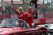 GOLD COAST, QLD - OCTOBER 21: Vodafone girls during the parade lap at The 2018 Vodafone Supercar Gold Coast 600 in Queensland, Australia. (Photo by Speed Media/Icon Sportswire)