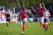 Wrexham Forward Ntumba Massanka on the run during the Vanarama National League match between Bromley FC and Wrexham FC at Hayes Lane, Bromley, United Kingdom on 8 April 2017. Photo by Jon Bromley.