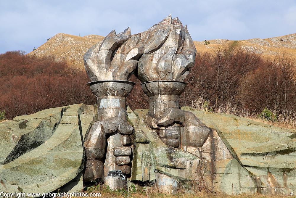 Burning torch sculpture Buzludzha monument former communist party headquarters, Bulgaria, eastern Europe
