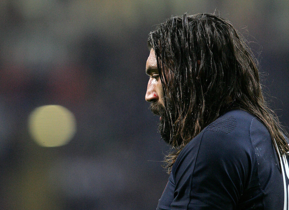 A dejected Sebastien Chabal after New Zealand score their second try. France v New Zealand, Quarter Final 2, IRB Rugby World Cup 2007, Millenium Stadium, Cardiff, Wales, 6th October 2007.