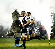 Dan Lydiate of Ospreys with team-mate  Scott Otten take to the field<br /> <br /> Photographer Simon King/Replay Images<br /> <br /> Guinness PRO14 Round 7 - Ospreys v Connacht - Friday 26th October 2018 - The Brewery Field - Bridgend<br /> <br /> World Copyright &copy; Replay Images . All rights reserved. info@replayimages.co.uk - http://replayimages.co.uk