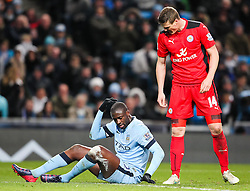 Manchester City's Yaya Toure shows his frustration after being fouled by Robert Huth of Leicester City - Photo mandatory by-line: Matt McNulty/JMP - Mobile: 07966 386802 - 04/03/2015 - SPORT - football - Manchester - Etihad Stadium - Manchester City v Leicester City - Barclays Premier League