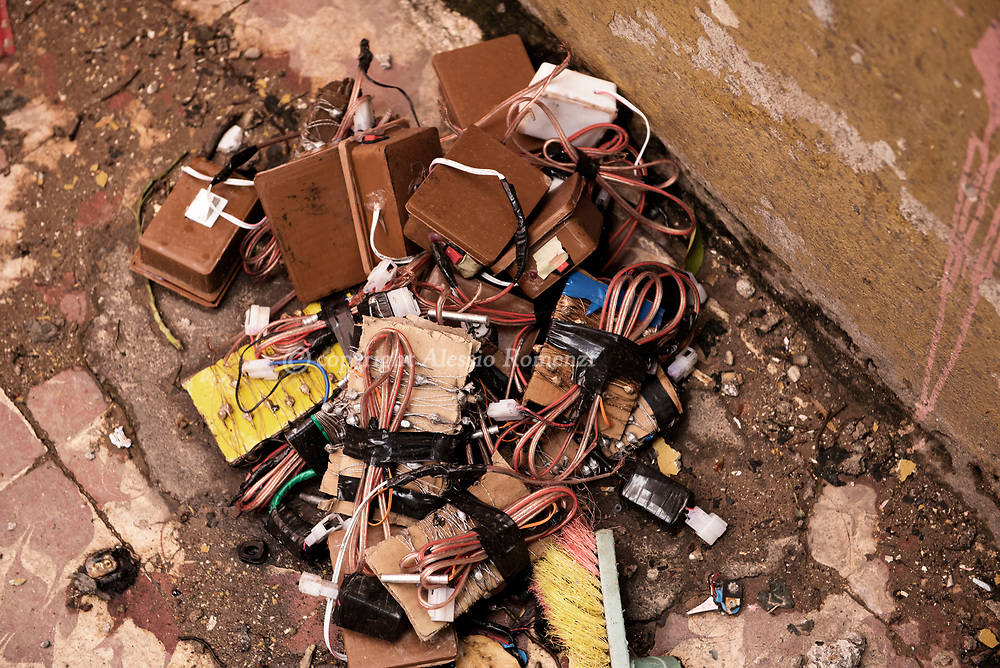 Iraq, Mosul: Parts of ISIS IED devices left behind by retreating ISIS fighters. Alessio Romenzi