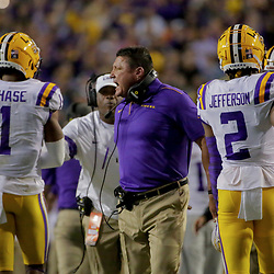 Oct 12, 2019; Baton Rouge, LA, USA; LSU Tigers head coach Ed Orgeron reacts after a touchdown against the Florida Gators during the first quarter at Tiger Stadium. Mandatory Credit: Derick E. Hingle-USA TODAY Sports