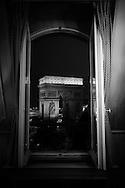 France. Paris. Elevated view.  the arc de triomphe and place de l'etoile view.   from the splendid hotel 1 avenue carnot 75017 paris