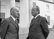 Herr Willy Brandt Visits The Aras.   (M4)..1978..06.07.1978..07.06.1978..6th July 1978..Herr Willy Brandt, Chairman of the Social Democratic Party of Germany visited President Patrick Hillery at Áras an Uachtaráin today. His visit was as Chairman of the North/South Commission.