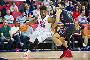 DALLAS, TX - JANUARY 04:  Semi Ojeleye #33 of the SMU Mustangs drives to the basket against Obi Enechionyia #0 of the Temple Owls during a basketball game on January 4, 2017 at Moody Coliseum in Dallas, Texas.  (Photo by Cooper Neill/Getty Images) *** Local Caption *** Semi Ojeleye; Obi Enechionyia