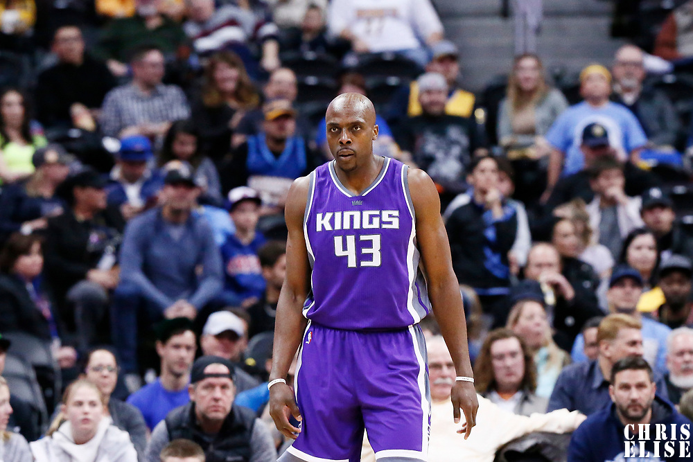 06 March 2017: Sacramento Kings forward Anthony Tolliver (43) is seen on defense during the Denver Nuggets 108-96 victory over the Sacramento Kings, at the Pepsi Center, Denver, Colorado, USA.