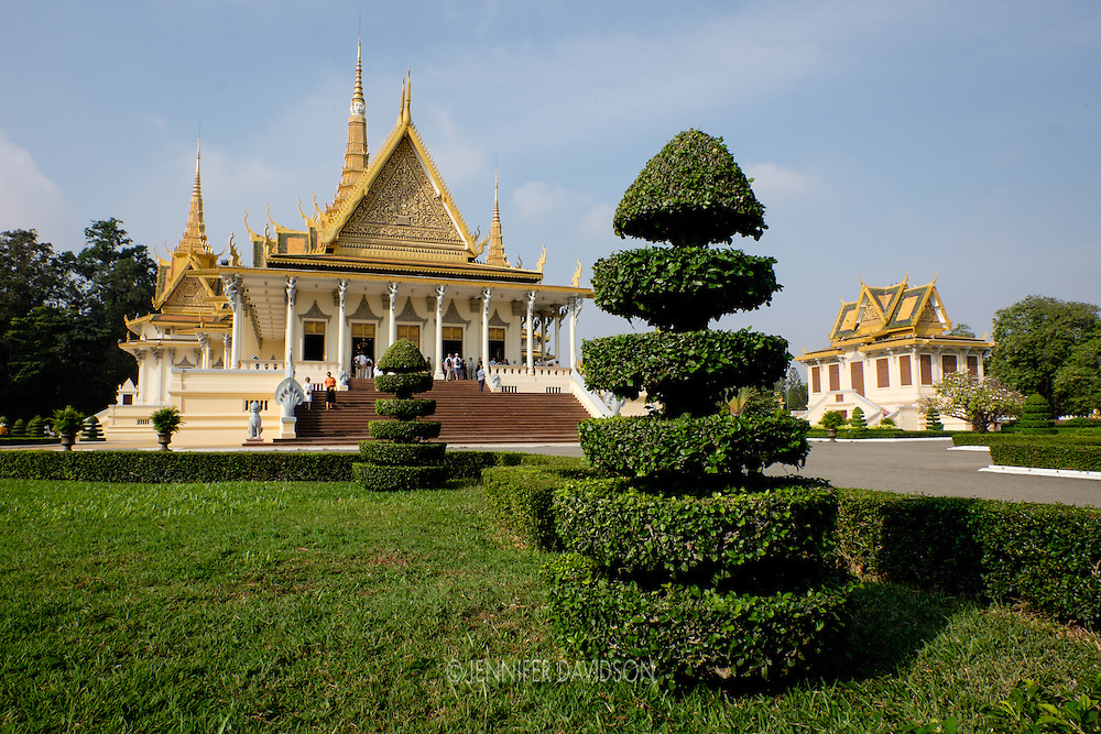 Topiaries decorate the gardens around the Throne Hall at the Royal Palace in Phnom Penh, Cambodia.  This building is used by the King for diplomatic and other official meetings.  It was constructed in 1917 and inaugurated by King Sisowath in 1919.