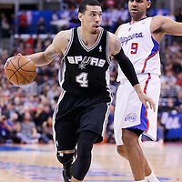 16 December 2013: San Antonio Spurs shooting guard Danny Green (4) drives past Los Angeles Clippers small forward Jared Dudley (9) during the Los Angeles Clippers 115-92 victory over the San Antonio Spurs at the Staples Center, Los Angeles, California, USA.