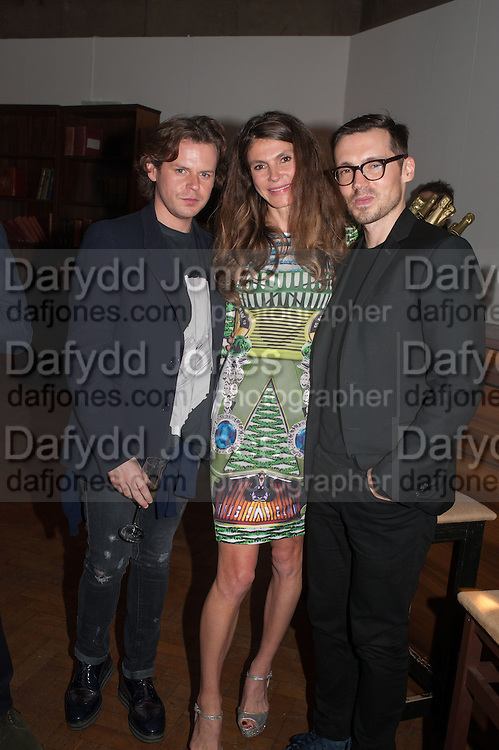 Christopher Kane; Andrea Dibelius; Erdem Moralioğlu, DINNER TO CELEBRATE THE ARTISTS OF FRIEZE PROJECTS AND THE EMDASH AWARD 2012 hosted by ANDREA DIBELIUS founder EMDASH FOUNDATION, AMANDA SHARP and MATTHEW SLOTOVER founders FRIEZE. THE FORMER CENTRAL ST MARTIN'S SCHOOL OF ART AND DESIGN, SOUTHAMPTON ROW, LONDON WC1. 11 October 2012