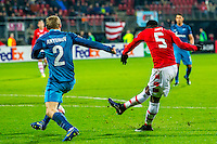 ALKMAAR - 08-12-2016, AZ - FC Zenit, AFAS Stadion, AZ speler Ridgeciano Haps scoort hier de 2-0, doelpunt, FC Zenit speler Aleksandr Anyukov (l).