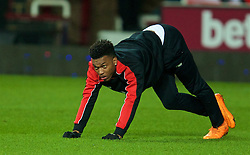 LONDON, ENGLAND - Tuesday, February 9, 2016: Liverpool's Daniel Sturridge warms-up before the FA Cup 4th Round Replay match against West Ham United at Upton Park. (Pic by David Rawcliffe/Propaganda)