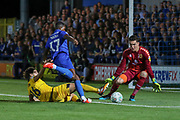AFC Wimbledon attacker Michael Folivi (17) takes on Milton Keynes Dons goalkeeper Lee Nicholls (1) during the EFL Cup match between AFC Wimbledon and Milton Keynes Dons at the Cherry Red Records Stadium, Kingston, England on 13 August 2019.