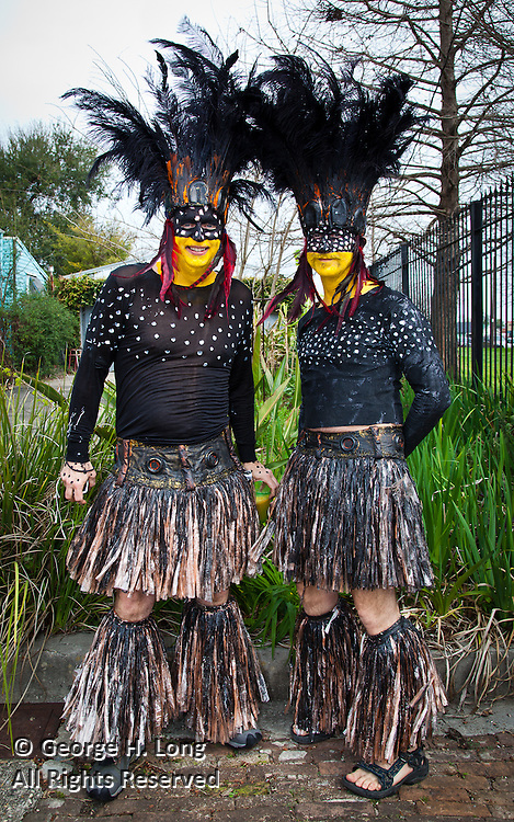 Participants in the Secret Society of St. Anne celebrate Mardi Gras 2011 in the Bywater neighborhood of New Orleans