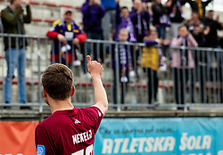 Aleš Mertelj of Triglav and Viole, fans of Maribor after the Football match between NK Triglav and NK Maribor in 25th Round of Prva liga Telekom Slovenije 2018/19, on April 6, 2019, in Sports centre Kranj, Slovenia. Photo by Vid Ponikvar / Sportida