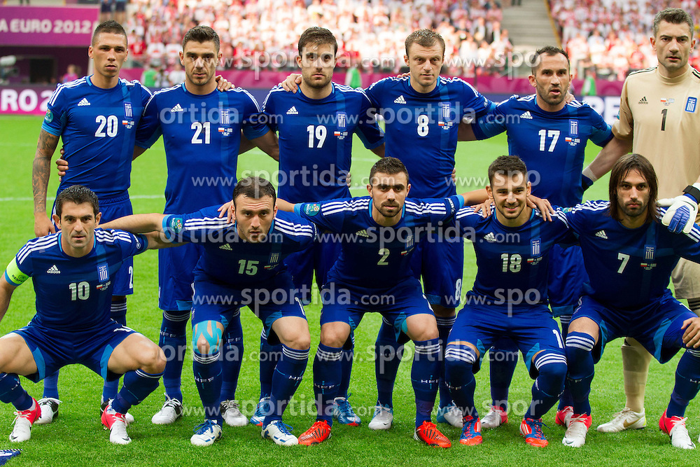 Team of Greece (standing row L-R) Jose Holebas  of Greece, Kostas Katsouranis  of Greece, Sokratis Papastathopoulos  of Greece, Avraam Papadopoulos  of Greece, Fanis Gekas  of Greece and Dimitris Salpingidis  of Greece; (first row L-R) Giorgos Karagounis  of Greece, Vassilis Torossidis  of Greece, Giannis Maniatis  of Greece, Sotiris Ninis  of Greece and Giorgos Samaras  of Greece during the UEFA EURO 2012 group A match between Poland and Greece at The National Stadium on June 8, 2012 in Warsaw, Poland.  (Photo by Vid Ponikvar / Sportida.com)