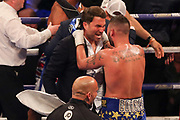 Tony Bellew is congratulated by Eddie Hearn after his victory at the O2 Arena, London, United Kingdom on 5 May 2018. Picture by Phil Duncan.