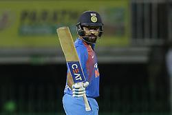 March 14, 2018 - Colombo, Sri Lanka - Indian cricket captain Rohit Sharma celebrates after scoring 50 runs during the 5th Twenty-20 cricket match of NIDAHAS Trophy between Bangladesh and India at R Premadasa cricket ground, Colombo, Sri Lanka on Wednesday 14 March 2018. (Credit Image: © Tharaka Basnayaka/NurPhoto via ZUMA Press)