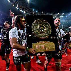 Yoann Huget of Toulouse celebrates the victory with the trophy during the Top 14 Final match between Toulouse and Clermont at Stade de France on June 15, 2019 in Paris, France. (Photo by Anthony Dibon/Icon Sport)