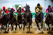 Take Charge Indy (Center) leads the field for the Alysheba Stakes at Churchill Downs in Louisville, KY on May 03, 2013. (Alex Evers/ Eclipse Sportswire)