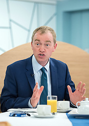 © Licensed to London News Pictures.  16/05/2017; Bath, UK. General Election 2017; TIM FARRON, leader of the Liberal Democrats, campaigns at Bath College.<br /> Picture credit : Simon Chapman/LNP