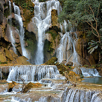 Main Cascade of Kuang Si Falls near Luang Prabang, Laos <br />